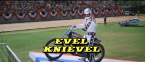 1977 Viva Knievel Doing Daredevil Stunt Evel Harley: Viva Knievel! (1977) Movie