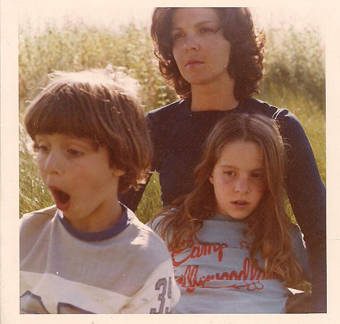 Moore family portrait, spring 1974. Yours truly ruining yet another photo with an exceptional goofball look, mom Stella, sister Lexi