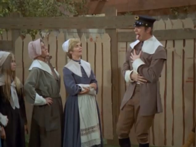 Capt. Jones of The Mayflower takes an imaginary arrow to the hambone