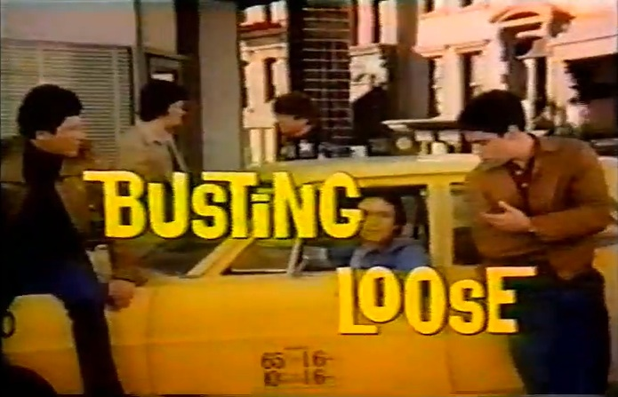 The 'Busting Loose' crew led by Adam Arkin (right), 1977