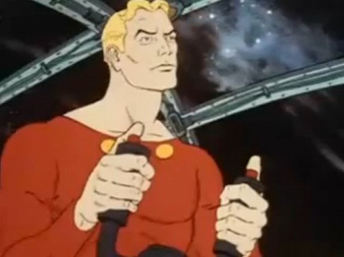 The man of the hour - fiddling with his joysticks. ('Flash Gordon,' 1979)