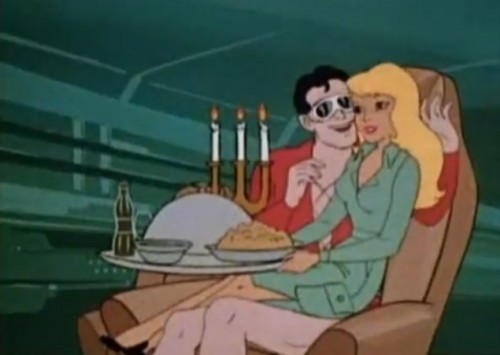 Plas and Penny in a cozy moment (The Plastic Man Comedy/Adventure Show, 1979)