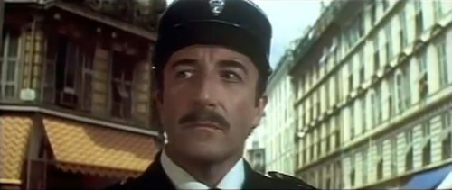 Chief Inspector Clouseau walking the beat. (Peter Sellers, 'The Return of the Pink Panther,' 1975)