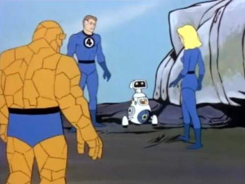 The Thing, Mr. Fantastic, H.E.R.B.I.E. and Invisible Girl. Wait. Something's wrong here.