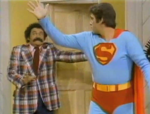 Avery Schreiber and Chuck Woolery (as Superman) on the 'Saturday Morning Sneak Peek,' 1973