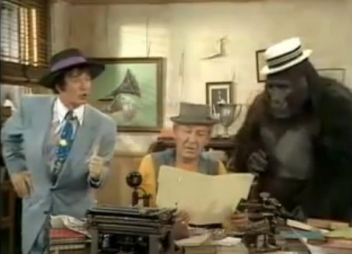 Who ya gonna call? (L-R: Eddie Spencer (Larry Storch), Kong (Forrest Tucker), Tracy (Bob Burns)