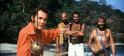 Robert Shaw, James Earl Jones and friends. ('Swashbuckler,' 1976)