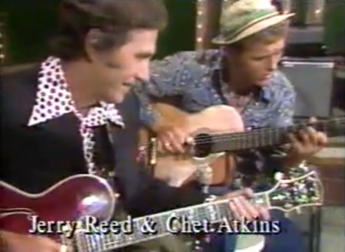 Chet Atkins (l) and Jerry Reed (r) burning up the fret boards. ('Jerry's Breakdown,' 1975)