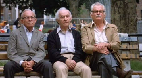 The dangerous trio of George Burns, Lee Strasberg and Art Carney. ('Going in Style,' 1979)