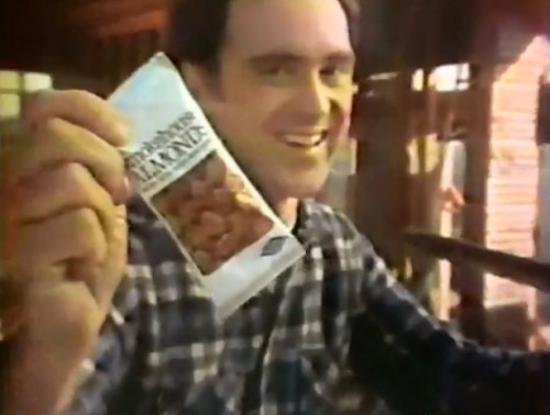 """One nibble is never enough."" (Smokehouse Almonds, 1978)"