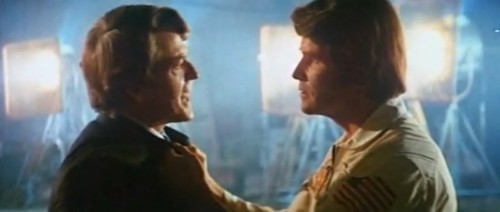 Hal Holbrook and James Brolin argue the merits of the space program ('Capricorn One,' 1978)