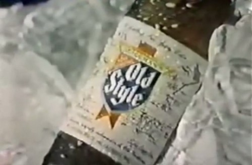 Kickin' it 'Old Style' on a relaxing bed of ice (Old Style Beer, 1979)