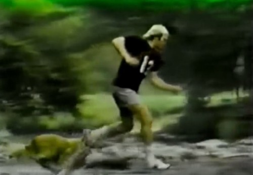 1979 Super Bowl champ, Terry Bradshaw gliding through the woods with his faithful dog & Spalding sneakers (Spalding commercial, 1979)