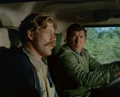 Frank Converse (Will) and Claude Akins (Sonny) ('Movin' On,' 1974)