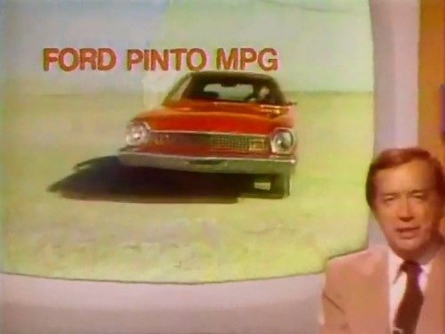 'And now, here's Hugh Downs with the fake news...' (Ford Pinto commercial, 1975)