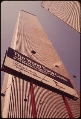 'Overlooking the Hudson River in Lower Manhattan, the Towers of the World Trade Center Soar Skyward to a Height of 1,350 Feet 05/1973 - Wil Blanche.'