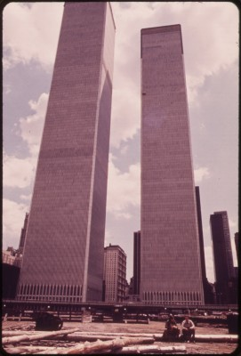 'Towers of the World Trade Center in Lower Manhattan Seen From West Street 05/1973 - Wil Blanche.'