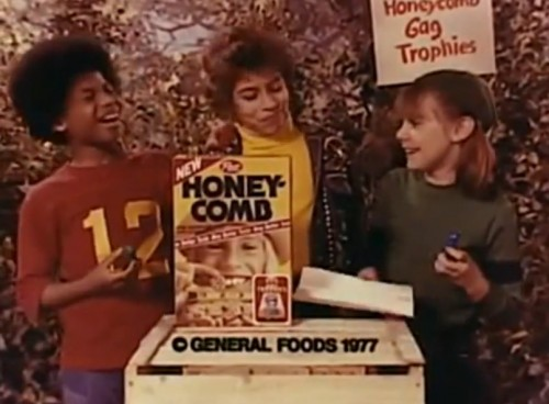 The Honeycomb gang laugh it up with Gag Trophies. (Honeycomb commercial, 1977)
