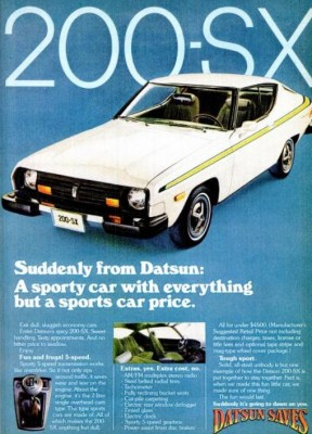 Datsun 200-SX. ('Popular Mechanics' magazine, Mar. 1977)