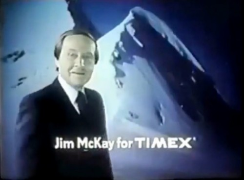 Jim McKay reporting for the Timex Marathon digital watch, 1977.