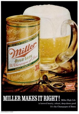 Miller High Life 'Frosty Mug.' ('Popular Science' magazine, Apr. 1970)