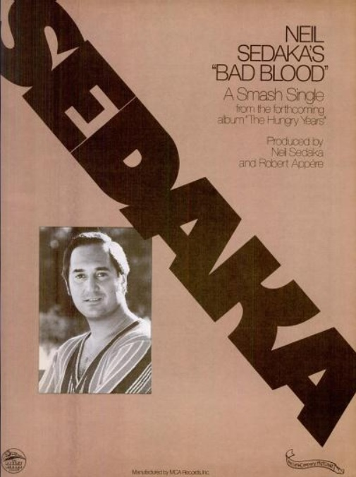 Neil Sedaka 'Bad Blood.' ('Billboard' magazine, September 13, 1975)