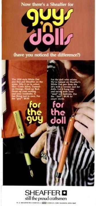 Sheaffer Pens For 'Guys 'n Dolls.' ('LIFE' magazine, October 16, 1970)
