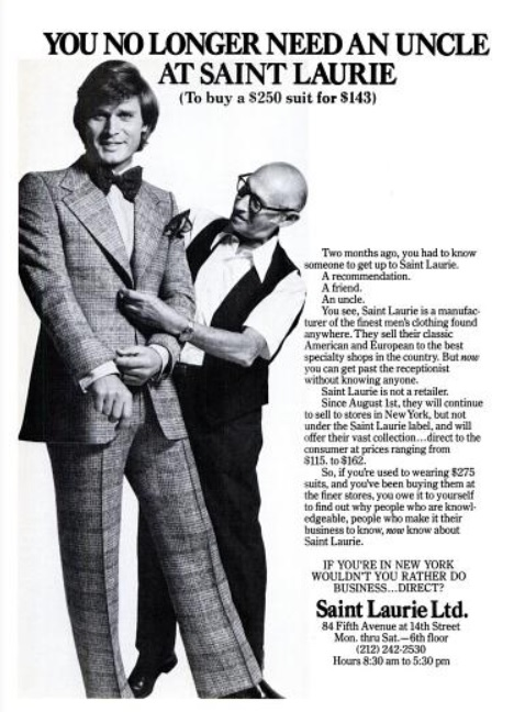 Saint Laurie Suits. ('New York' magazine, November 03, 1975)