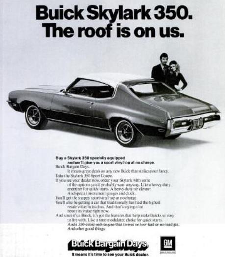 Buick Skylark 350. ('LIFE' magazine, April 21, 1972)
