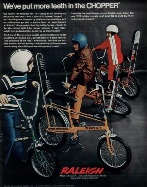 Raleigh Bicycles, 'The Chopper.' ('Boy's Life' magazine, December, 1970)