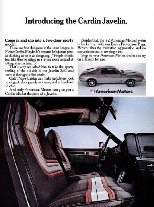 American Motors' Pierre Cardin Javelin SST. ('New York' magazine, March 20, 1972)