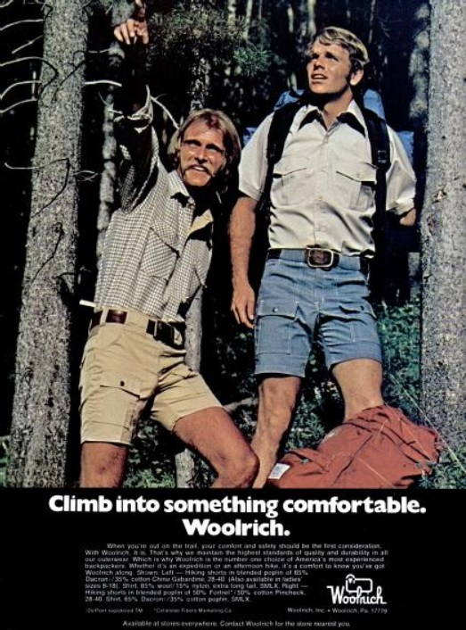 Woolrich Hiking Clothes. ('Backpacker' magazine, Spring, 1975)