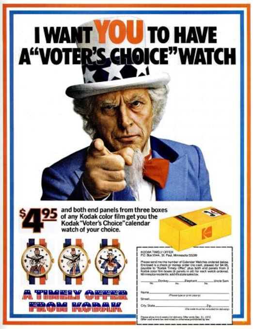 Kodak 'Voter's Choice' Watch ('LIFE' magazine, September 01, 1972)