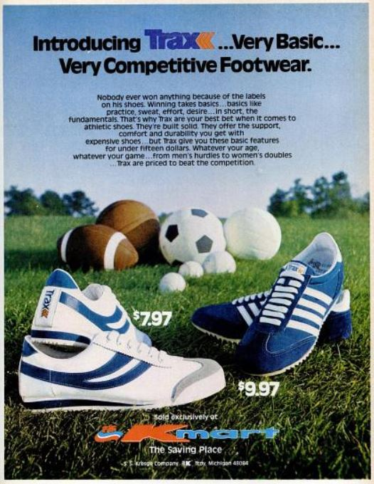 Kmart's Trax Athletic Shoes. ('Ebony' magazine, August 1976)