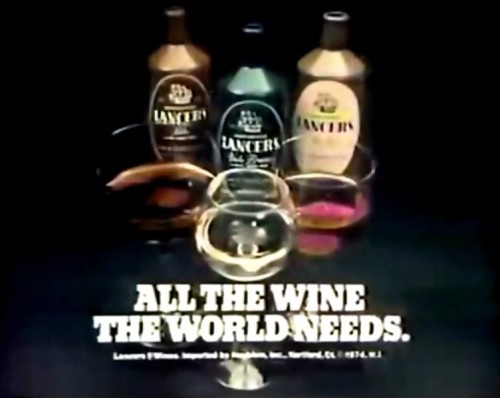 You could not possibly need any more wine than this. (Lancers commercial, 1974)