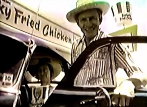 Country-style couple loves Kentucky Fried Chicken BBQ-style (1976).