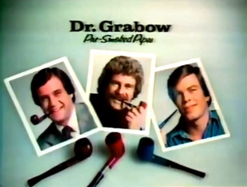 Sure, Erin Gray looks great in this spot, but I can't help myself. Here's a shot of 70s cheesiness instead. (Dr. Grabow Pipes commercial, 1977)